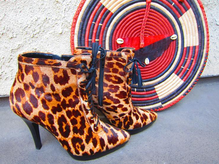 "Steve Madden, ""Sesto"" Leopard BootiesThe large disc is a handbag of mine from The Gambia in West Africa"