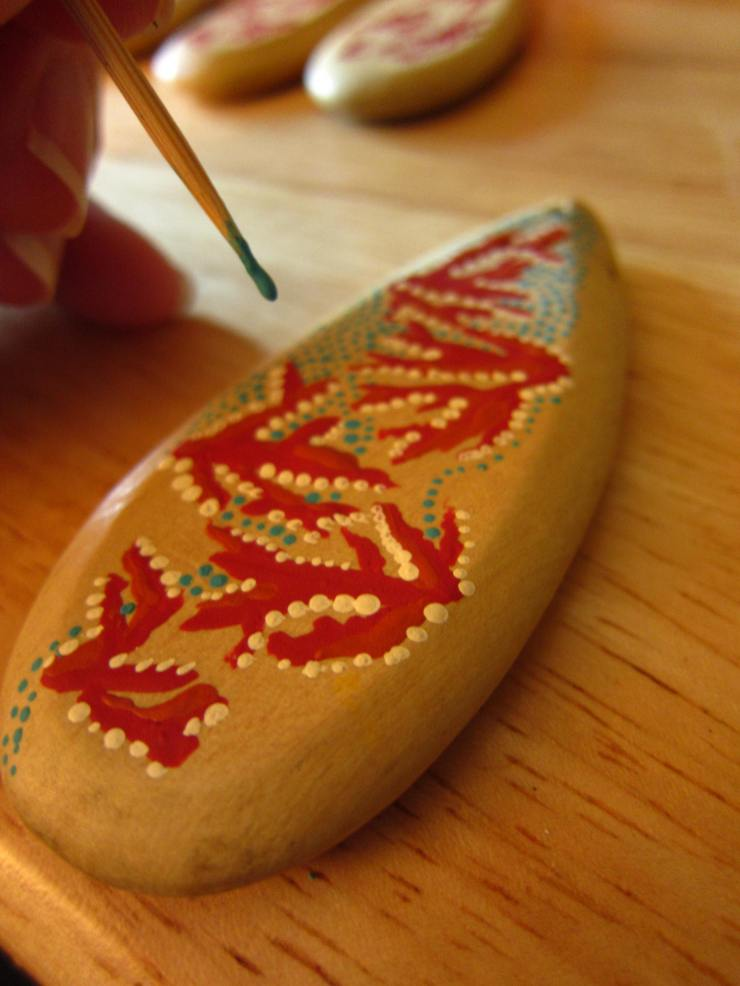 I had to switch out the toothpicks often to keep the dots small, othewise the paint builds up on the tip creating larger dots.
