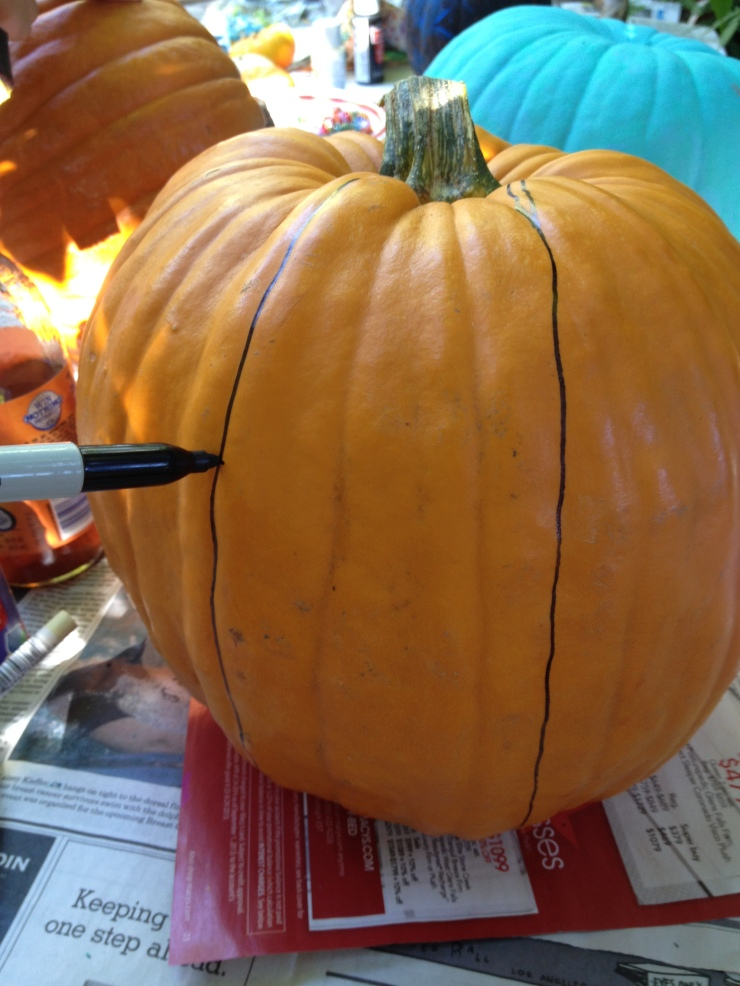 Step 1: Draw a wide stripe on either side of the pumpkin.