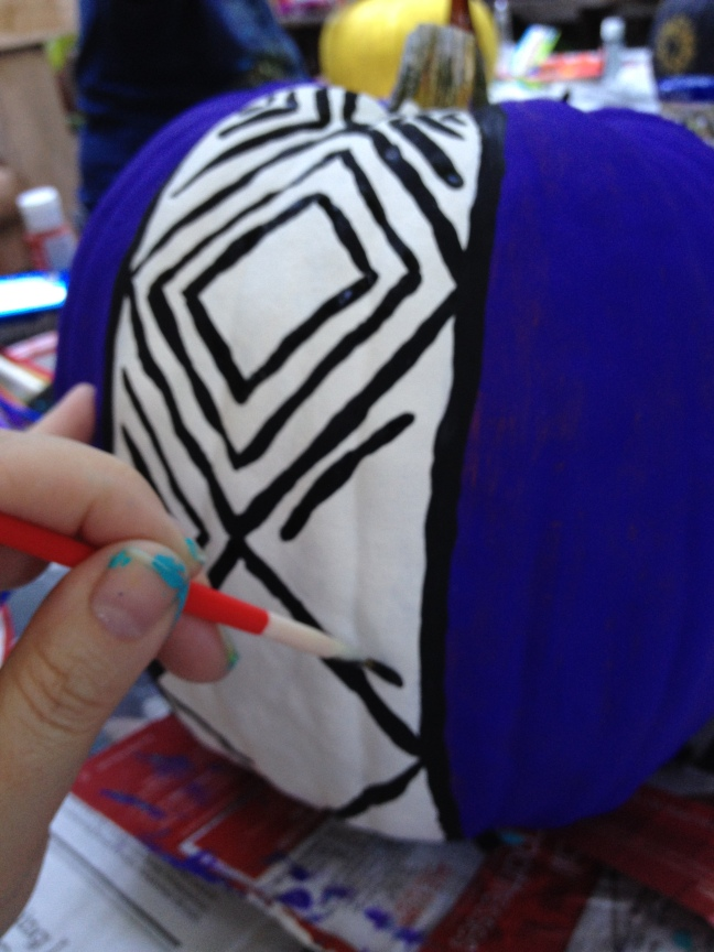 Step 4: Paint repeating diamond pattern on the entire width & length of each stripe.