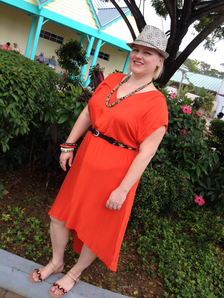 Dress, Belt, Hat & Shoes: Target, Necklace & Bracelets: From India Location: Isla Roatan, Honduras