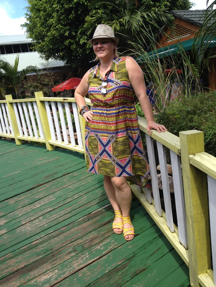 Dress: Marshall's, Hat: Target, Sandals: Famous Footwear, Bracelets: From Mali, Watch: Swatch Location: Belize