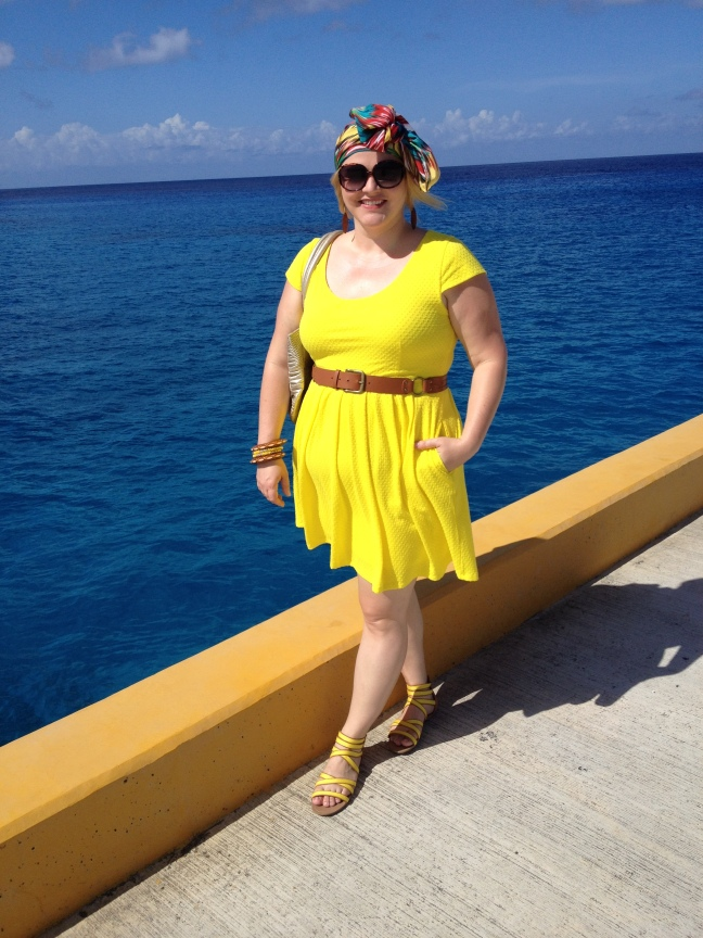 Dress: JcPenny, Belt: Target, Shoes: Famous Footwear, Scarf worn as a headwrap: Marshall's, Bracelets: Target & India Location: Cozumel, Mexico