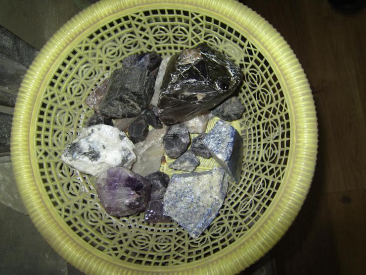 Raw, uncut gemstones