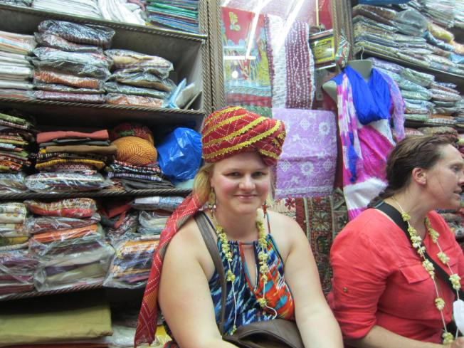 This is what shopping delirium looks like. I was checked out, chillin' (why, yes, I'll wear that turban) while my friend was still fiercely bargaining!