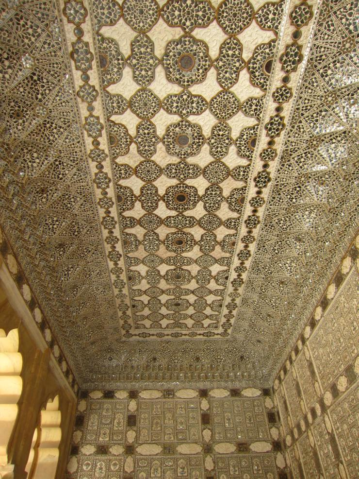 The ceiling of the Winter Palace at Amber Fort. The light of one candle would reflect in all the mirrors, replicating a starry sky.