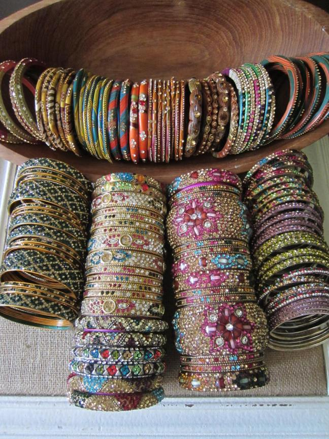 These are the bangles I bought. The top row are all Lakh bangles and the others are metal bangles I bought in Hyderabad.