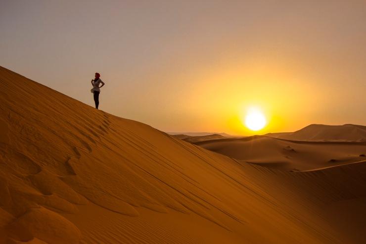 Morocco Sahara Desert Merzouga Dunes Sunset Female Traveller - Leo Tamburri IMG_8256 Lg RGB